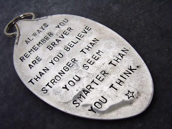 Braver, Stronger, Smarter vintage spoon keychain