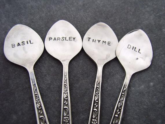 Demitasse spoon Herb Vintage Garden Markers - Set 4