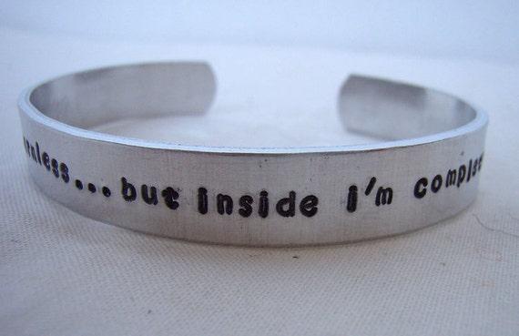 Harmless Badass stamped aluminum quote cuff bracelet