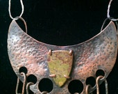 Tribal Crescent Unakite and Copper Heart Protector, Necklace