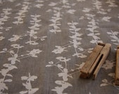 Hand Screen Printed Fabric - Leaf in Dove Grey on White