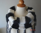 Reserved for Kara - Black and white oversized cowl / capelet with fringes