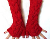 RED EXTRA LONG CABLED FINGERLESS GLOVES/ WRIST WARMERS