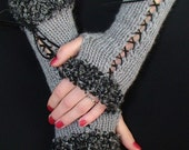 Fingerless  Gloves Long Corset Wrist Warmers Light Grey with Suede Ribbons and Grey Boucle Edges Victorian Style