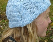 Knit Hat/ Beanie Cabled Light Sky Blue SALE