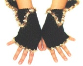 Black Fingerless Gloves/ Wristwarmers Ribbed Handknit with Brown Edges