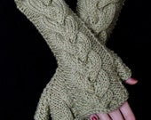 Fingerless Gloves Light Olive Green Khaki Cabled  Wrist Warmers Soft and Long
