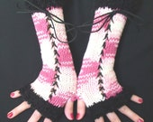Fingerless Gloves Long Corset Arm Warmers in Pink/ White Shades with Black Boucle Edges Victorian Style