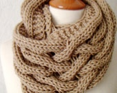 Cowl/ Capelet/ Shoulder Warmer Light Brown Thick Acrylic