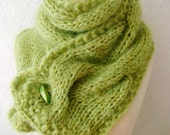 Reserved for Arlene - Chunky Scarf  Cowl Apple Green Chartreuse Extra Thick Cabled