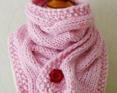 Reserved for Arlene - Scarf Knit Warm Winter Cowl Cabled in Light Pink