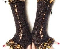 Fingerless Gloves Brown Luxurious Silky Mohair Corset Arm Warmers with Golden Brown edges and Satin Ribbons  Victorian Style