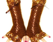 Fingerless Gloves Luxury Copper Brown Silky Mohair Corset Hand Warmers with Golden Brown edges and Satin Ribbons  Victorian Style