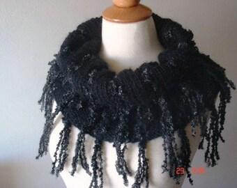 Black Cowl with Grey Fringes Handknit Shoulder Warmer SALE