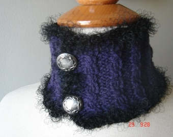 Purple neckwarmer cabled merino with silver grey buttons Clearance sale