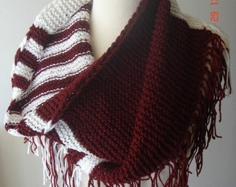 Cowl/ Shoulder Warmer Oversized Burgundy and White SALE