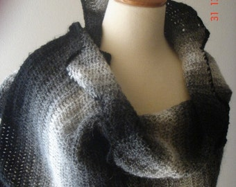 Wrap/ Shawl Black and White Mohair Sale