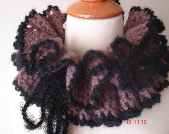Neck Warmer / Cowl Rose Brown/ Pink Ruffled with Black edges SALE