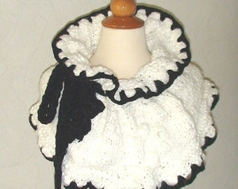 CLEARANCE SALE Shoulder Warmer Capelet Elegant Cabled Black and White