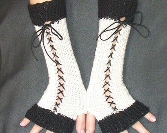 Fingerless Gloves Black and White with Suede Ribbons Victorian Style