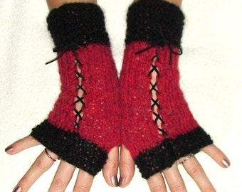 Fingerless  Corset Gloves in Raspberry Red and black with Suede Ribbons Victorian Style