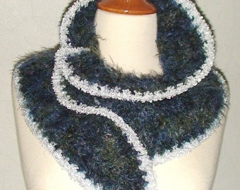 Scarf Knit Blue Green Black with Silver White Edges by Laimashop