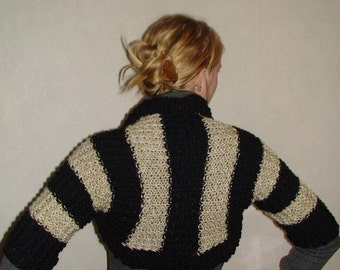 Shrug/ Bolero Handknit Striped Black and White/ Beige in Natural Wool and Mohair, Extra Thick and Warm