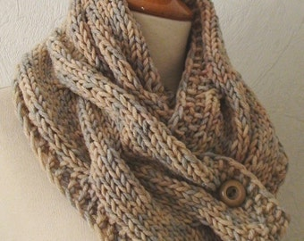 Chunky Cowl Scarf Extra Thick Cabled Soft  in Natural Colours Beige Light Brown and Light Grey SALE