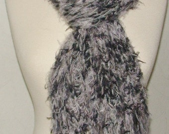 Handknit Scarf Black and Grey Extra Long Volume Shawl with Rich Fringes Sale