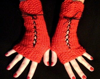 Fingerless Gloves Corset Wrist Warmers Soft  in Red with Suede Ribbons Victorian Style