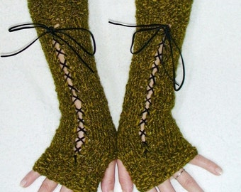 Fingerless Gloves Long Luxurious Texting gloves in Moss Green with Black Suede Ribbons Victorian Style