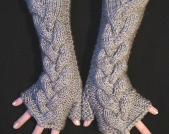Fingerless Gloves Grey Cabled  Knit Wrist Warmers, Super Warm, Soft and Long Light Grey
