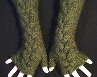 Fingerless Gloves Knit  Arm Warmers Moss Green Mohair Cabled, Extra Soft, Warm and Long