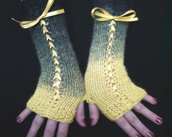 Fingerless Gloves Corset Wrist Warmers in Yellow and Navy/ Dark Blue with Satin Ribbons Victorian Style