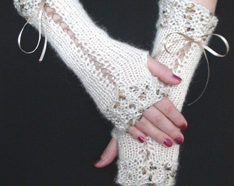 Fingerless  Gloves Long Corset Wrist Warmers Luxury  in Cream and Golden Brown with Satin Ribbons Victorian Style