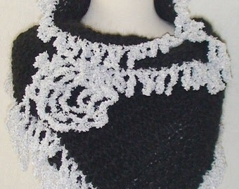 Wrap Shawl  Black Elegant Evening  with Silver White Fringes and Flower Brooch SALE