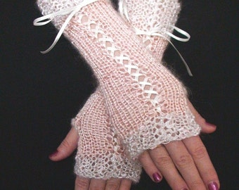 Fingerless Gloves Salmon Pink Luxury Silky Mohair Corset with Silver White edges and Satin Ribbons  Victorian Style