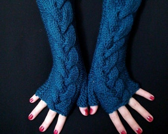 Fingerless Gloves Blue Dark Ocean Cabled  Wrist Warmers, Extra Long and Soft