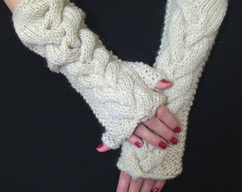 Fingerless Gloves Knit  Wrist Warmers Natural White  Cabled Warm, Long and Soft