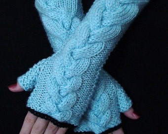 Fingerless Gloves Long Wrist Warmers Light Blue Soft Cabled  with Black Edges