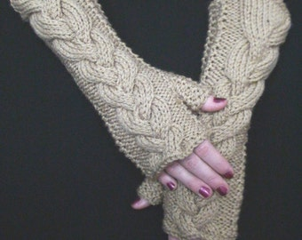 Fingerless Gloves Mittens Wrist Warmers Light Brown/ Beige Cabled , Soft and Long
