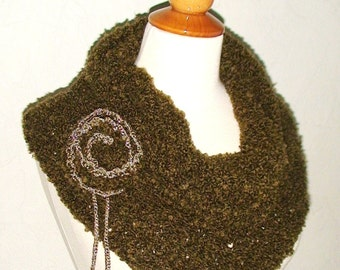 Cowl Shoulder Warmer Knit Khaki Green Boucle  with Cashmere CLEARANCE Sale