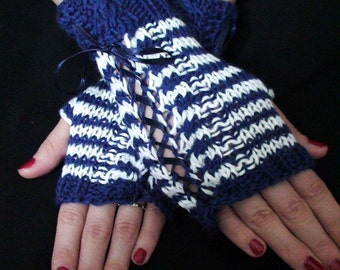 Handknit Fingerless Gloves Wrist Warmers Dark Blue Navy White Cabled  in Merino and Cotton