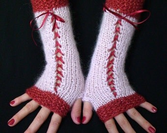 Fingerless Gloves Corset Arm Warmers in Rose Red and Light Pink with Satin Ribbons Victorian Style
