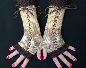 Fingerless Gloves Long Brown Taupe White and Cream with Brown Suede Ribbons, Victorian Style