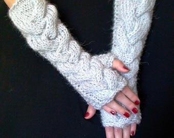 Fingerless Gloves Long Arm Warmers Silver Grey Extra Warm Chunky  Elbow Length