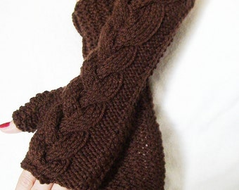 Fingerless Gloves Dark Brown Cabled Wrist Warmers, Soft and Long