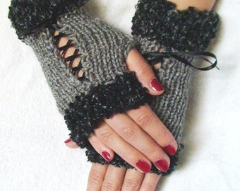 Fingerless Gloves Corset Wrist Warmers in Grey with Satin Ribbons and Grey Boucle Edges Victorian Style