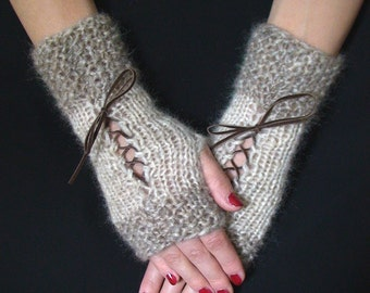 Fingerless Gloves Natural Beige and Light Brown/ Taupe Corset Wrist Warmers with Suede Ribbons Victorian Style