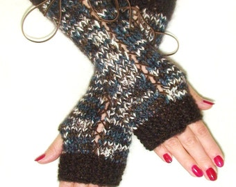 Fingerless Gloves in Dark Brown Brown White and Blue with Brown Suede Ribbons, Corset Gloves